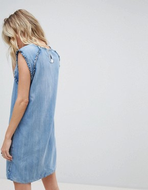 photo Denim Dress with Ruffle Detail by Replay, color Blue - Image 2