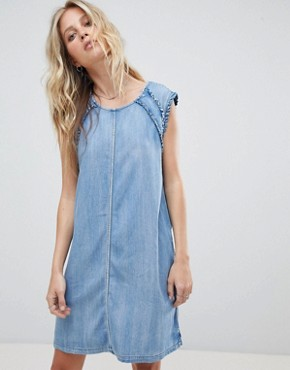 photo Denim Dress with Ruffle Detail by Replay, color Blue - Image 1