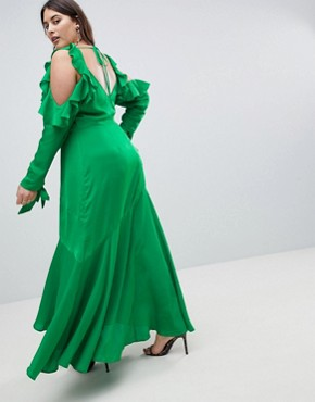 photo Ruffle Sleeve Maxi Dress with Cold Shoulder by ASOS DESIGN Curve, color Green - Image 2