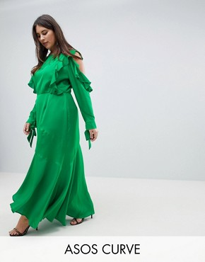 photo Ruffle Sleeve Maxi Dress with Cold Shoulder by ASOS DESIGN Curve, color Green - Image 1
