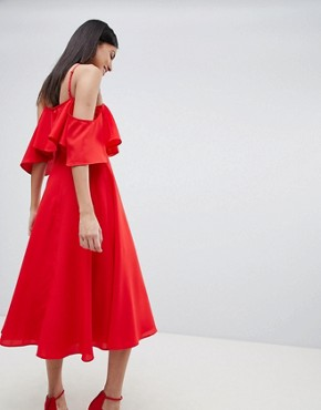 photo Ruffle Top Midi Dress by ASOS DESIGN Tall, color Red - Image 2