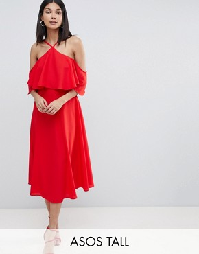 photo Ruffle Top Midi Dress by ASOS DESIGN Tall, color Red - Image 1