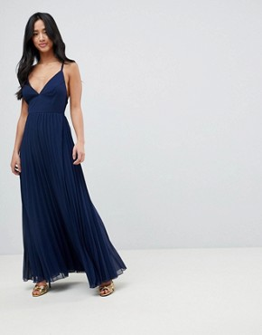 photo Cami Pleated Maxi Dress with Strappy Back by ASOS DESIGN Petite, color Navy - Image 2