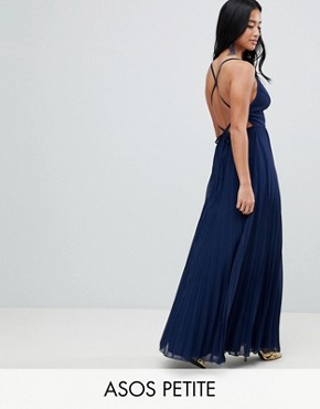 photo Cami Pleated Maxi Dress with Strappy Back by ASOS DESIGN Petite, color Navy - Image 1