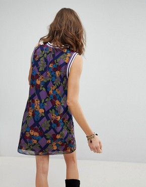 photo Rose Trellis Chiffon Shift Dress by Anna Sui, color Iris Multi - Image 2