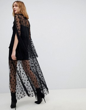 photo Star Mesh Sheer Tie Up Dress by Anna Sui, color Black - Image 2
