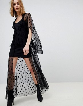 photo Star Mesh Sheer Tie Up Dress by Anna Sui, color Black - Image 1