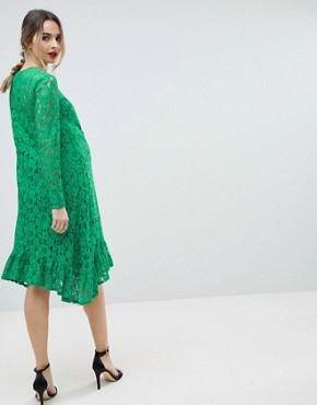 photo Maternity Lace Midi Swing Dress by ASOS DESIGN, color Green - Image 2
