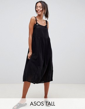 photo Casual Smock Midi Sundress in Grid Texture with Knot Tie by ASOS DESIGN Tall, color Black - Image 1