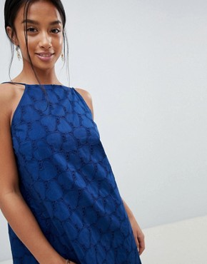 photo Low Back Mini Sundress in Heart Broderie by ASOS DESIGN Petite, color Navy - Image 3