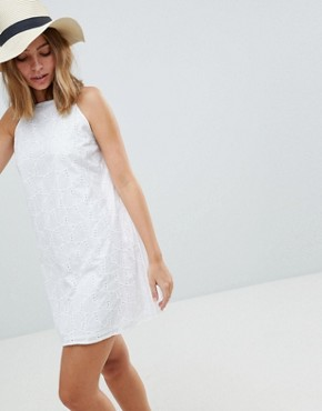 photo Low Back Mini Sundress in Heart Broderie by ASOS PETITE, color White - Image 2