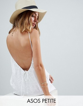 photo Low Back Mini Sundress in Heart Broderie by ASOS PETITE, color White - Image 1