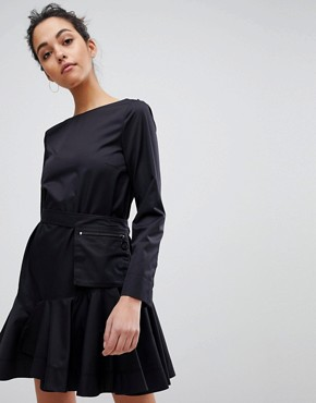 photo Flippy Dress with Utility Belt by Sportmax Code, color Black - Image 1