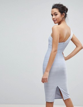 photo One Shoulder Bandage Midi Bodycon Dress by ASOS, color Baby Blue - Image 2
