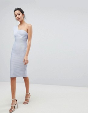 photo One Shoulder Bandage Midi Bodycon Dress by ASOS, color Baby Blue - Image 1