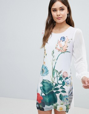 photo Lilypad Border Print Tunic Dress by Yumi, color Ivory - Image 3