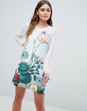 photo Lilypad Border Print Tunic Dress by Yumi, color Ivory - Image 1