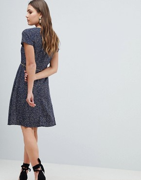 photo Nordic Dash Print Skater Dress by Yumi, color Navy - Image 2