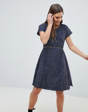 photo Nordic Dash Print Skater Dress by Yumi, color Navy - Image 1