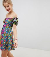 photo Off the Shoulder Mixed Print Button Through Sundress by ASOS, color Multi - Image 1