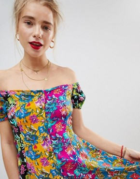 photo Off the Shoulder Mixed Print Button Through Sundress by ASOS, color Multi - Image 3