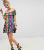 photo Off the Shoulder Mixed Print Button Through Sundress by ASOS, color Multi - Image 4