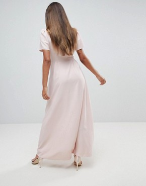 photo Button Through Maxi Tea Dress by ASOS, color Pink - Image 2