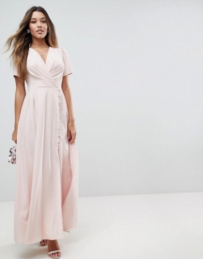 photo Button Through Maxi Tea Dress by ASOS, color Pink - Image 1