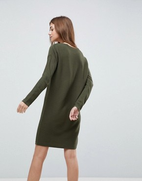 photo Jumper Dress in Ripple Stitch by ASOS, color Khaki - Image 2