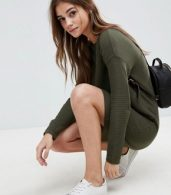 photo Jumper Dress in Ripple Stitch by ASOS, color Khaki - Image 3