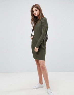 photo Jumper Dress in Ripple Stitch by ASOS, color Khaki - Image 4