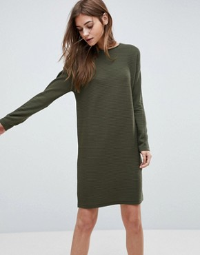 photo Jumper Dress in Ripple Stitch by ASOS, color Khaki - Image 1