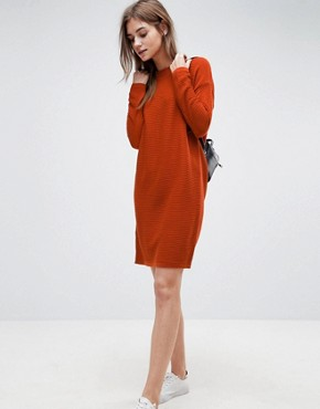 photo Jumper Dress in Ripple Stitch by ASOS, color Rust - Image 4