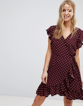 photo Polka Dot Ruffle Wrap Dress by New Look, color Red Pattern - Image 1