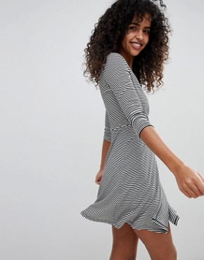 photo Stripe Wrap Mini Dress by New Look, color Black Pattern - Image 2