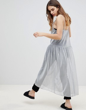 photo Apron Neck Midi Dress by Monki, color Silver - Image 2