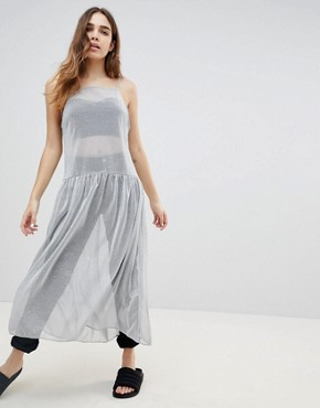 photo Apron Neck Midi Dress by Monki, color Silver - Image 1