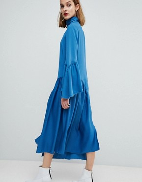 photo Raw Edge Frill Sleeved Dress by ASOS WHITE, color Teal - Image 2