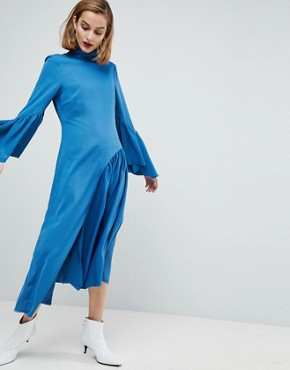 photo Raw Edge Frill Sleeved Dress by ASOS WHITE, color Teal - Image 1