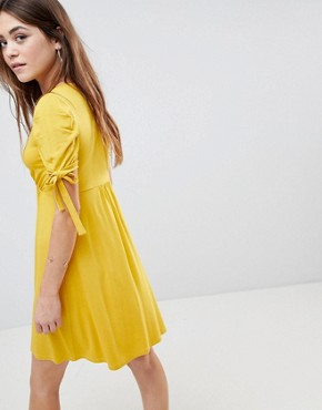 photo Mini Button Through Tea Dress with Tie Sleeve by ASOS, color Mustard - Image 2