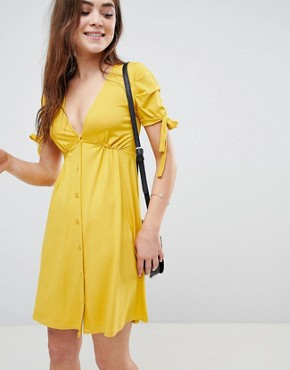photo Mini Button Through Tea Dress with Tie Sleeve by ASOS, color Mustard - Image 1