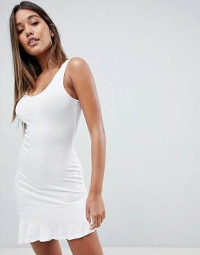 photo Mini Vest Dress with Scoop Back and Asymmetric Frill Hem by ASOS DESIGN, color White - Image 1