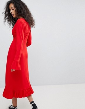 photo Midi Tea Dress with Frill Cuff by ASOS, color Red - Image 2
