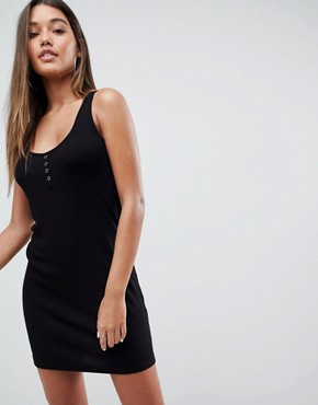 photo Mini Vest Dress with Popper Placket by ASOS DESIGN, color Black - Image 1