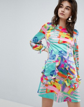 photo Nova Printed Mini Dress by House of Holland, color Mint Multi - Image 1