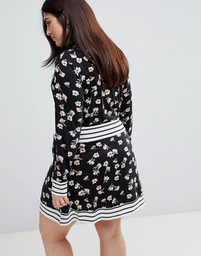 photo Floral Skater Dress with Contrast Stripe Trim by Yumi Plus, color Black - Image 2