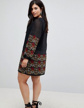 photo Long Sleeve Tunic Dress in Border Print by Yumi Plus, color Black - Image 2