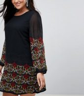 photo Long Sleeve Tunic Dress in Border Print by Yumi Plus, color Black - Image 3