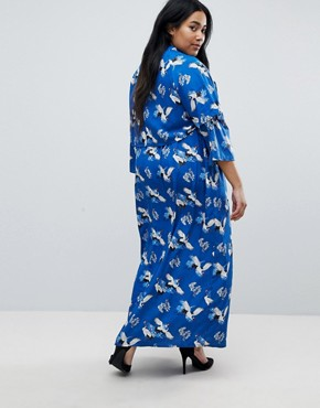 photo Frill Sleeve Maxi Dress in Heron Print by Yumi Plus, color Blue - Image 2