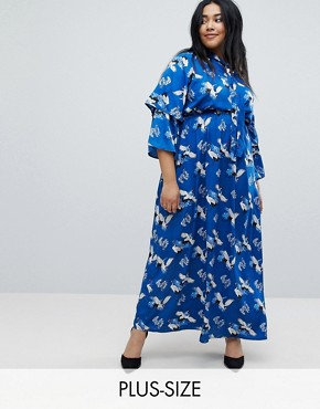 photo Frill Sleeve Maxi Dress in Heron Print by Yumi Plus, color Blue - Image 1